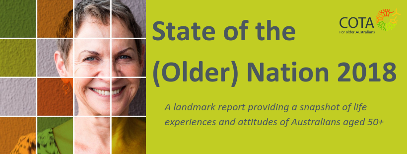 State of the (Older) National graphic header showing face of a woman in COTA colours